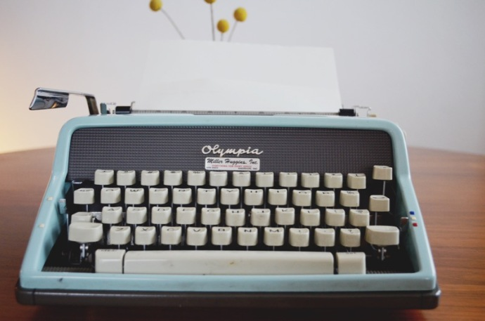 Vintage Aqua Olympia Typewriter